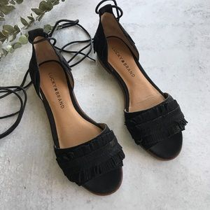 LUCKY BRAND Suede Gelso Fringe Lace Up Sandals 7